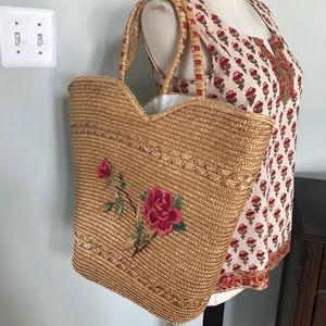 Vintage Straw Shoulder Bag/Beach Bag